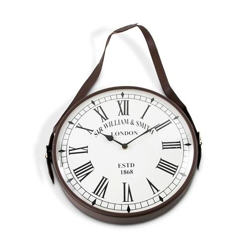 Relógio de Parede Metal/Couro - 25cm