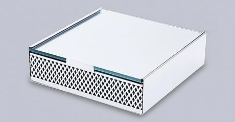 Caixa Quadrada Rendada Prata - 20cm