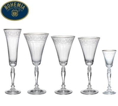 Taças Victoria Pantograph c/ Borda Prata - 30 pçs - Bohemia